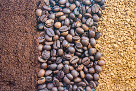 background of three kinds of coffee, ground, beans and instant Фото со стока