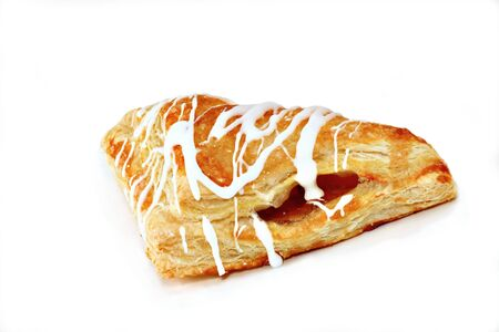 Apple turnover pastry isolated over white.