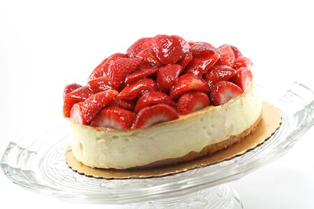 Strawberry Cheesecake Isolated Over White. Imagens - 1598405