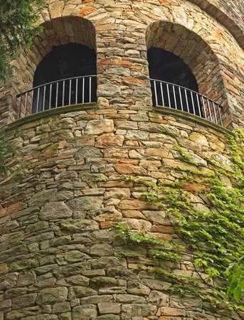 Stenen kasteel toren met wijnstokken.