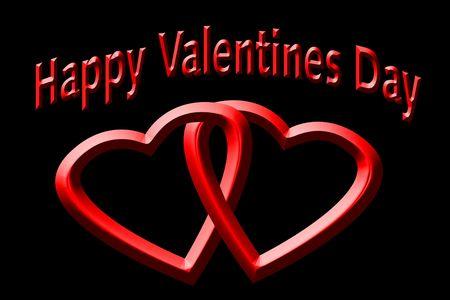 twining: Valentine hearts illustration over black.