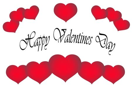 twining: Valentines Day greeting ,hearts over white. Stock Photo