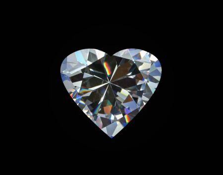 coeur diamant: Diamond Heart, isol� sur noir Banque d'images