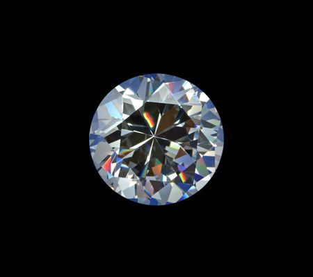 Brilliant diamond on black background. Stock Photo