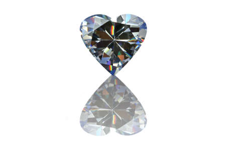 cz: Heart diamond with reflection, isolated on white background. Stock Photo