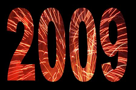 2009 New Years Day text with a fireworks texture pattern. Stock Photo