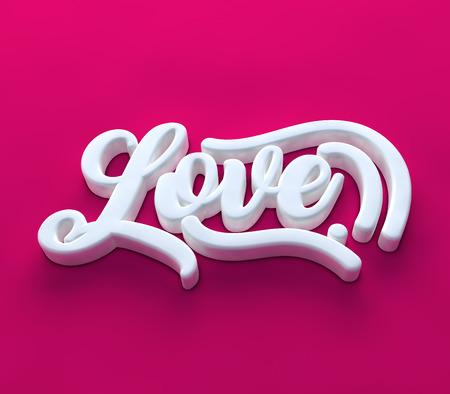Decorative love 3D white on pink background Фото со стока