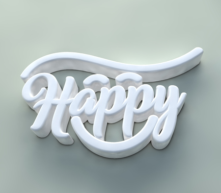Happy wording calligraphy with 3D effect Фото со стока