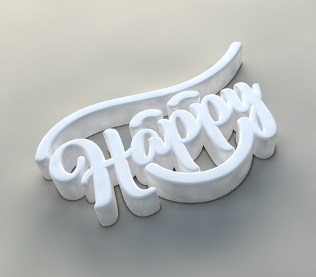 Happy wording calligraphy with 3D effect Reklamní fotografie