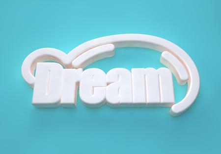 Dream wording 3D on light blue background