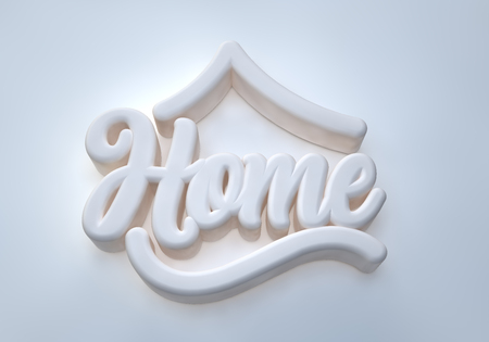 Home 3D white wording on white background