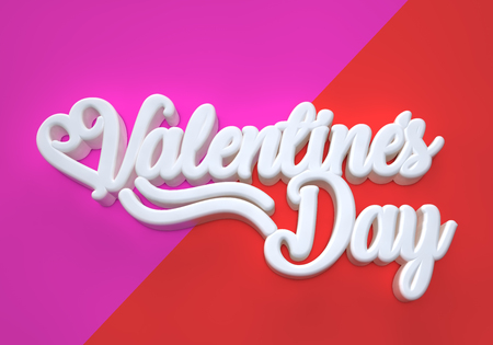 Valentines Day 3D white wording on red and pink background Stock Photo