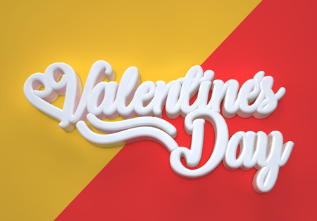 Valentines Day 3D white wording on red and orange background