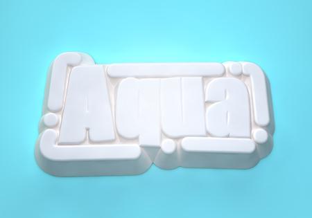 Aqua 3D wording on light blue background