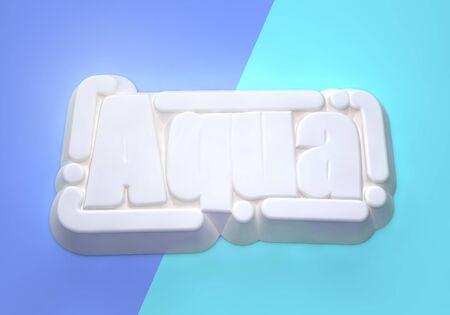 Aqua 3D wording on shades of blue background Фото со стока