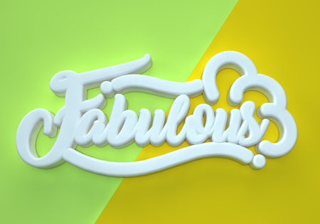 Fabulous off white 3D wording on green yellow background Stock Photo