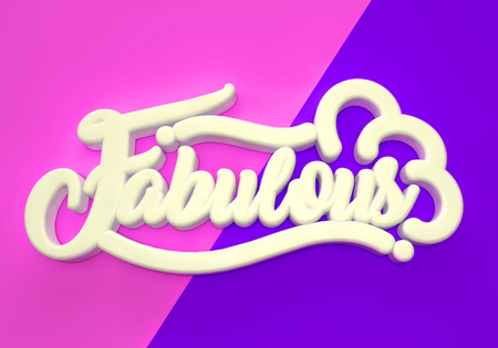 Fabulous off white 3D wording on pink blue background