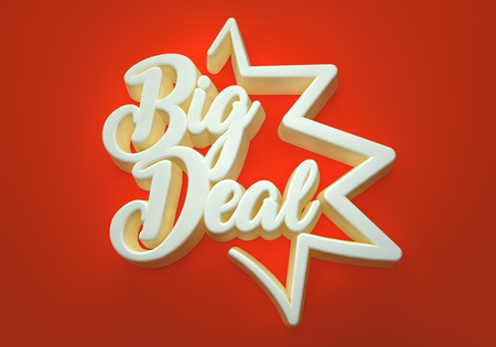 Big Deal white 3D wording in red background