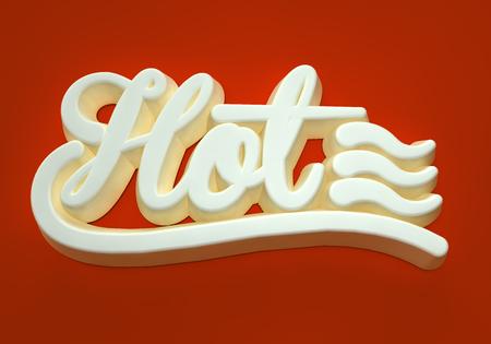 Hot white 3D wording on dark red background