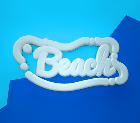 Beach 3D yellow wording on blue colors background