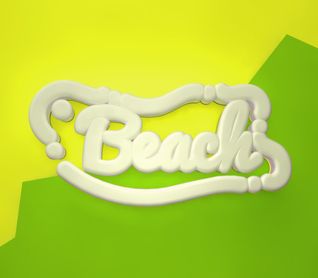 Beach 3D yellow wording on yellow green colors background