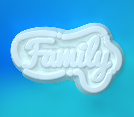 Family 3D white wording on blue colors background