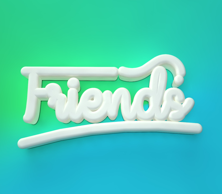Friends 3D white wording on blue green colors background
