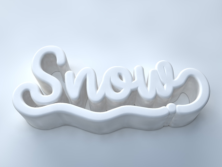 Snow 3D white wording on white color background Stock Photo