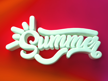Summer 3D white wording on red colors background Stock Photo