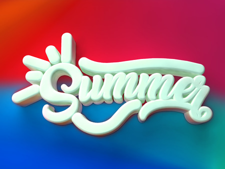 Summer 3D white wording on red blue colors background Stock Photo