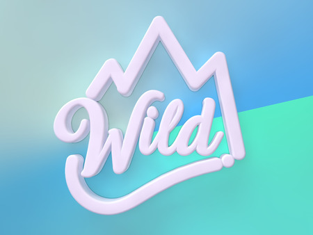 Wild 3D white wording on green blue colors background Stock Photo