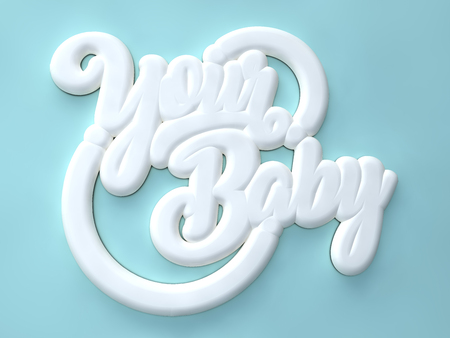 Your Baby 3D white wording on blue colors background Stock Photo