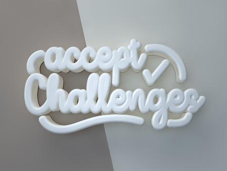 Accept Challenges 3D white wording on gray background Banco de Imagens