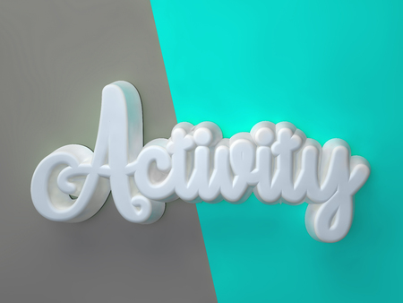 Activity 3D white wording on gray green background Stock Photo