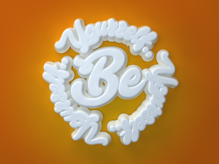 Be Yourself 3D white wording on orange background