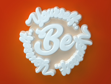 Be Yourself 3D white wording on red orange background Stock Photo