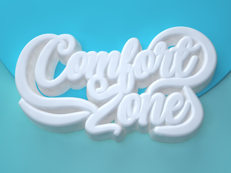 Comfort Zone 3D white wording on blue light blue background