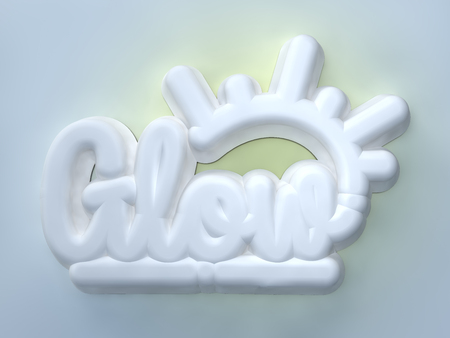 Glow 3D white wording on light blue background Stock Photo
