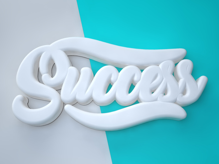Success 3D white wording on white green background Stock Photo