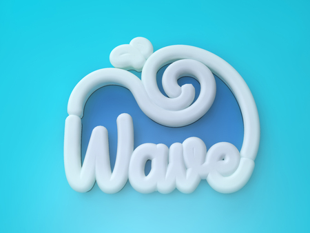 Wave 3D white wording on blue colors background