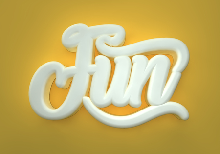 Fun 3D white wording on yellowred background