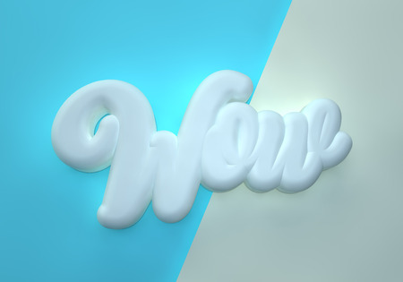 Wow 3D white wording on blue light background Stock Photo