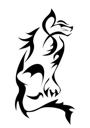 Monochromatic wild cat tattoo Vector
