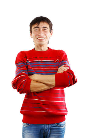 Smiling man in striped sweater on white background photo