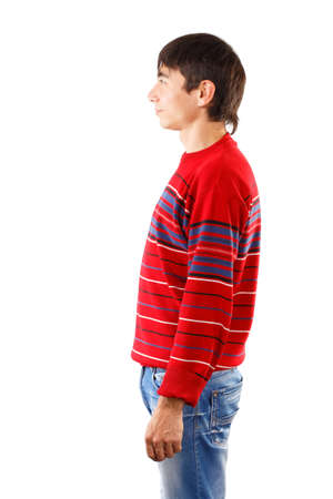 unworried: Man in striped red sweater standing in profile isolated on white background