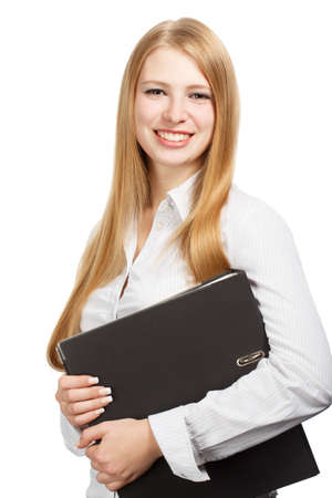 Young woman in business style standing with black folder isolated on white background