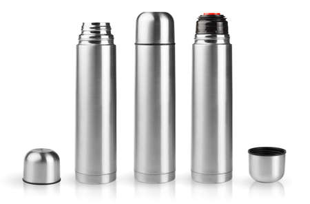 Set of thermoses in silver metallic case in assembled and disassembled condition isolated on white background photo