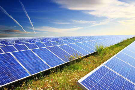 Solar panels under blue summer sky on field of flowers