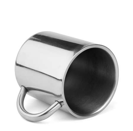 thermo: Shiny stainless steel travel thermo cup with handle lay isolated on white background Stock Photo