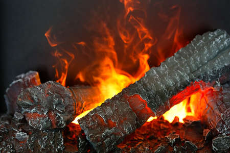 Beautiful electric fire with artificial firewood and flame effect by highlighted steam. Close up. Shallow DOF. Focus on foreground. Stock Photo